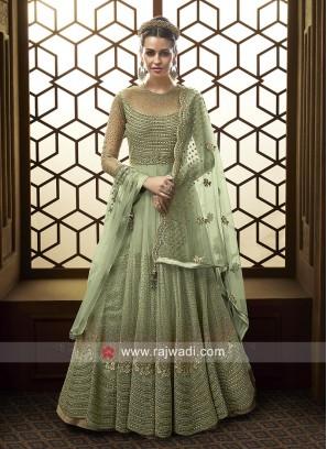 Heavy Embroidered Floor Length Dress for Eid