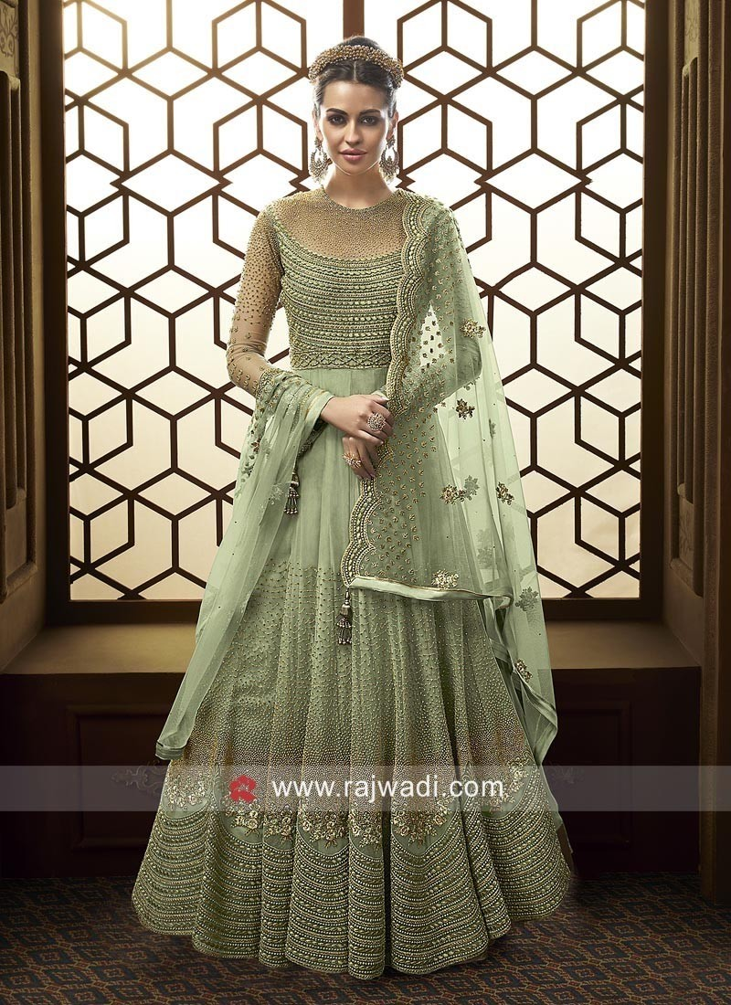 Heavy Embroidered Floor Length Dress for Wedding