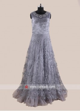 Heavy Embroidered Floor Length Gown