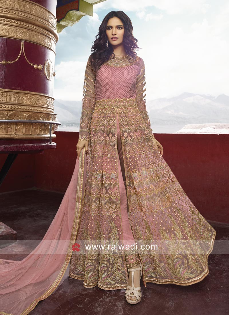 Heavy Embroidered Front Open Slit Salwar Suit