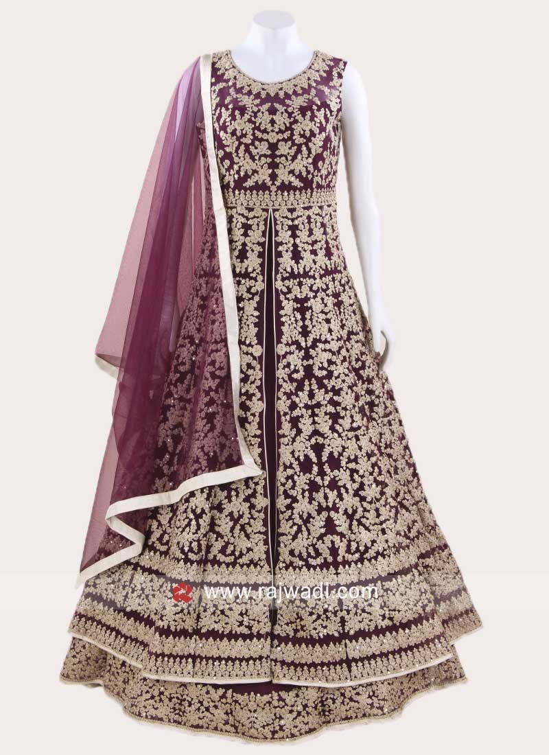 Heavy Embroidered Front Slit Anarkali Suit