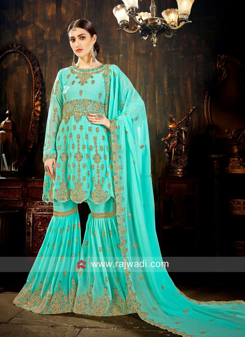 Heavy Embroidered Gharara Salwar Kameez