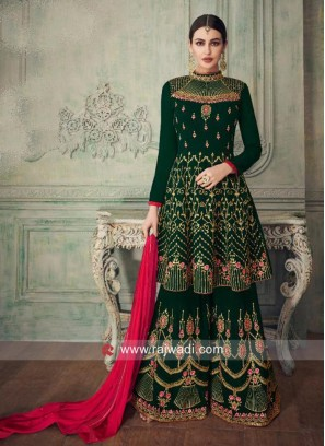 Heavy Embroidered Gharara Suit in Green