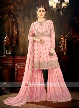 Heavy Embroidered Gharara Suit in Light Pink