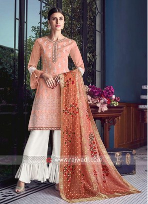 Heavy Embroidered Gharara Suit in Peach