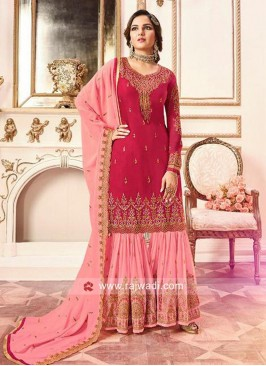 Heavy Embroidered Gharara Suit with Dupatta