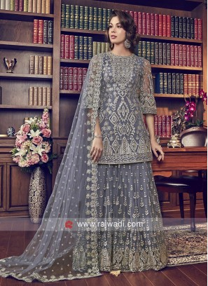 Heavy Embroidered Grey Eid Palazzo Suit with Dupatta