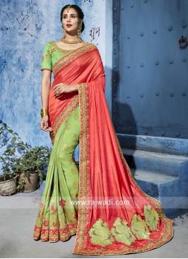 Heavy Embroidered Half n Half Saree