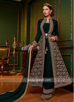Heavy Embroidered Jacket Suit with Dupatta