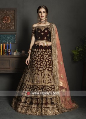 Heavy Embroidered Lehenga Choli in Dark Maroon
