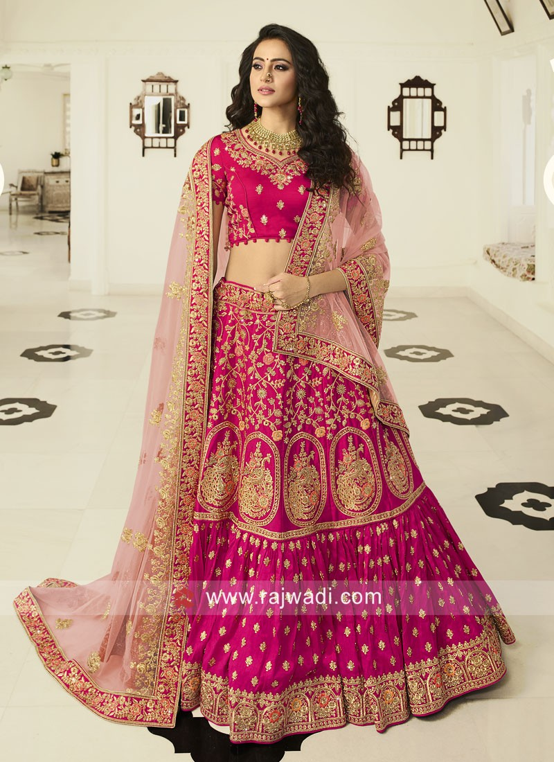 Heavy Embroidered Lehenga Choli in Pink