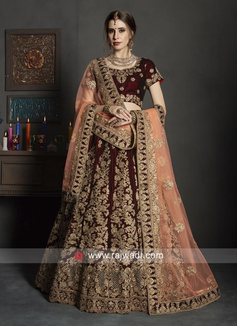 Heavy Embroidered Lehenga in Dark Maroon