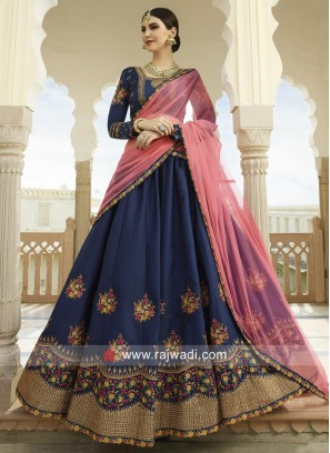 Heavy Embroidered Lehenga in Navy Blue