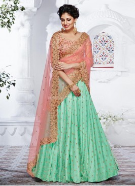Heavy Embroidered Net Lehenga Saree