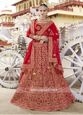 Heavy Embroidered Red Bridal Lehenga