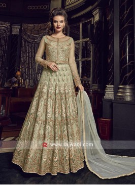 Heavy Embroidered Salwar Suit in Pista Green