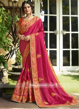 Heavy Embroidered Saree in Art Silk