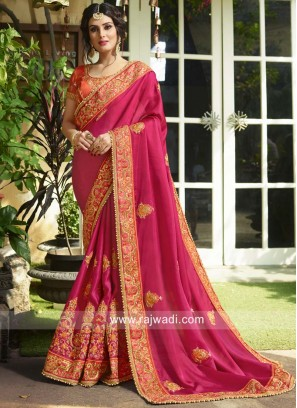 Heavy Embroidered Saree in Art Silk