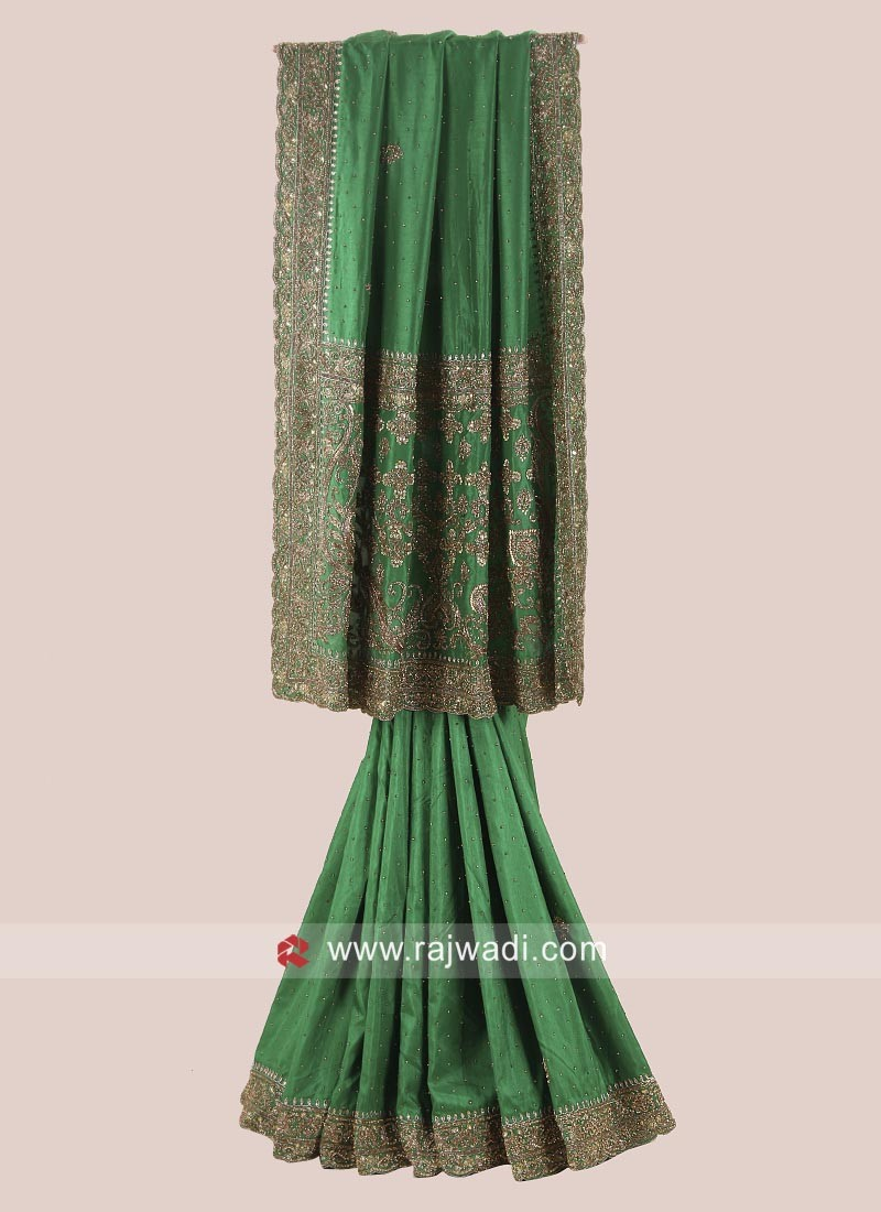 Heavy Embroidered Saree in Green