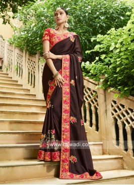Heavy Embroidered Saree with Border