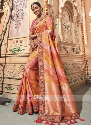 Heavy Embroidered Saree with Tassels