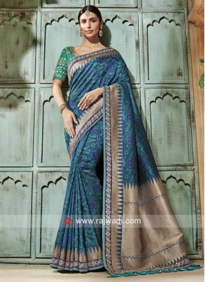 Heavy Embroidered Saree with Tassels Border