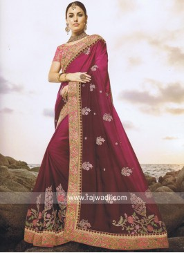 Heavy Embroidered Shaded Saree
