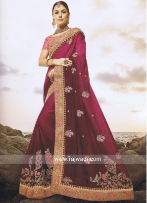 Heavy Embroidered Shaded Saree