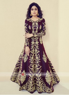 Heavy Embroidered Shamita Shetty Silk Gown
