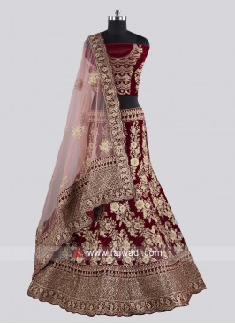 Heavy Embroidery Maroon Lehenga Choli