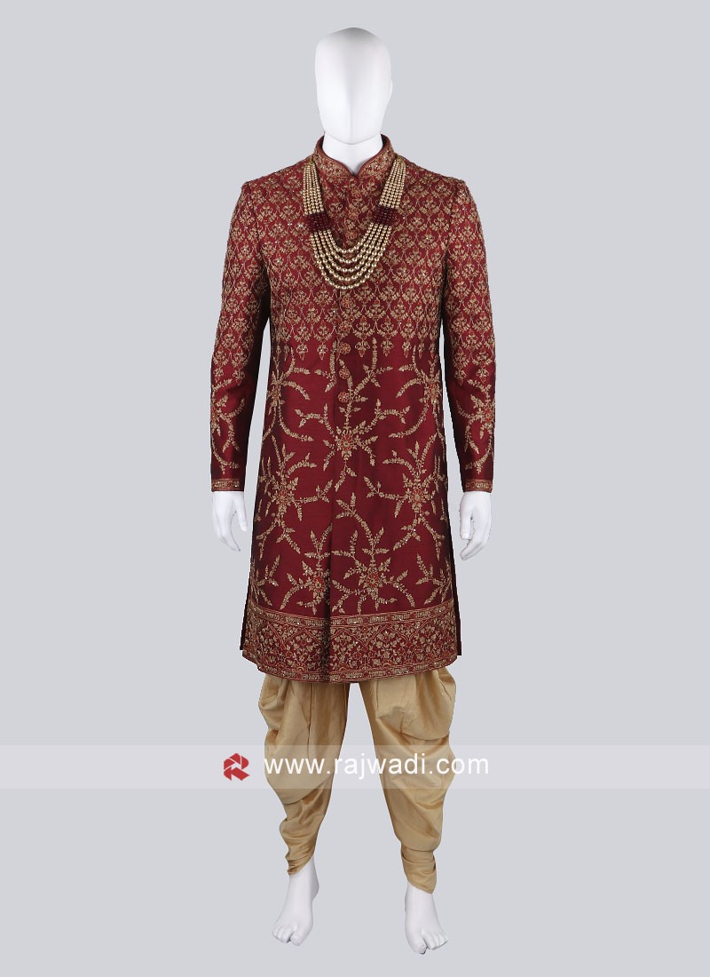 Heavy Embroidery Maroon Sherwani