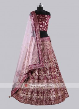 Heavy Embroidery Purple Lehenga Set