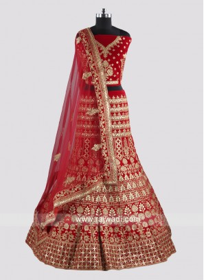 Heavy Embroidery Red Lehenga Choli for Bridal