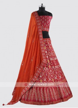 Heavy Embroidery Soft Silk Lehenga Set For Wedding