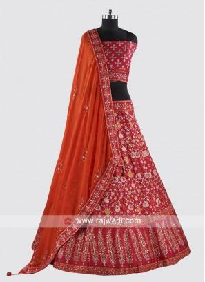 Heavy Embroidery Soft Silk Lehenga Set For Wedding
