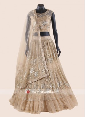 Heavy Embroidery Net Double Layer Lehenga