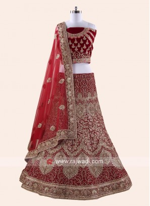Heavy Emroidery Unstitched Bride Lehenga