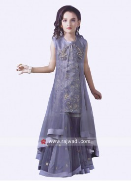 Heavy Work Gharara Suit with Koti for Girls