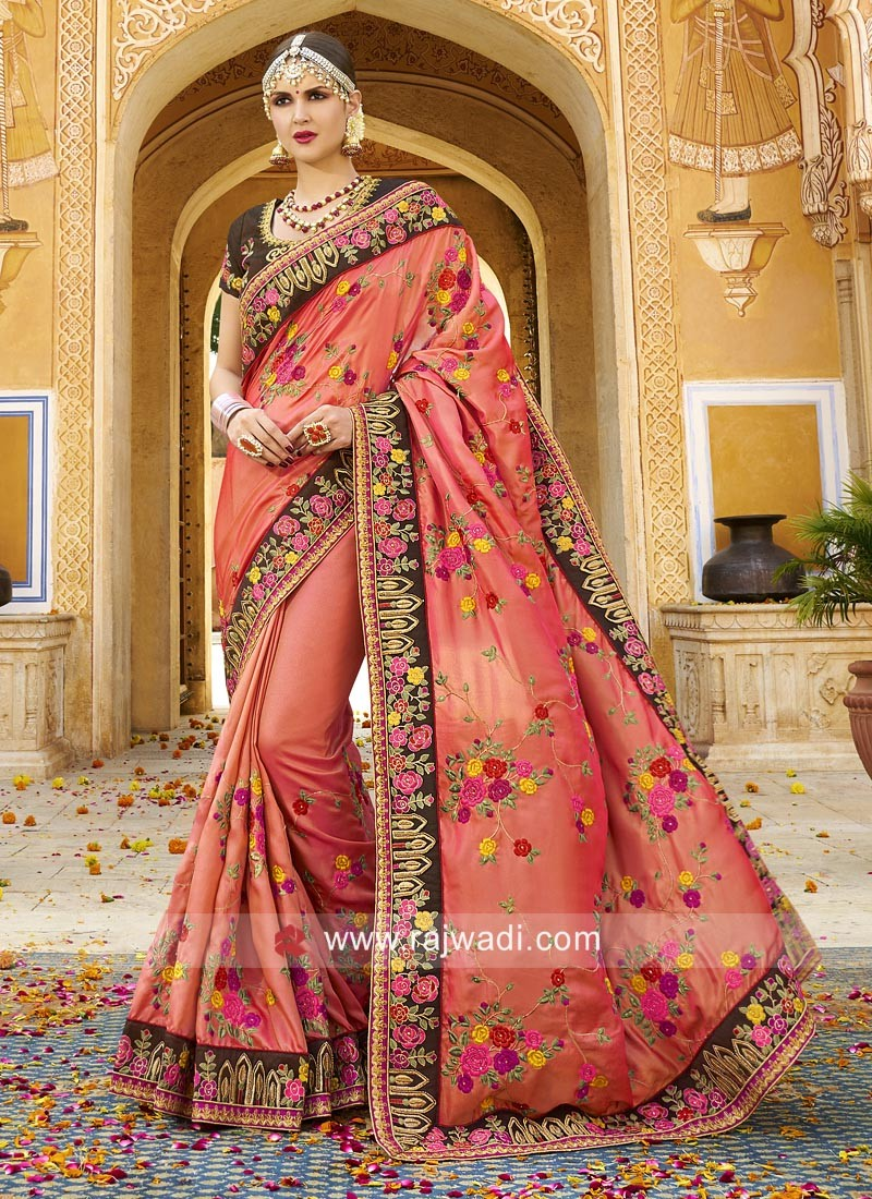 Heavy Work Saree with Raw Silk Blouse