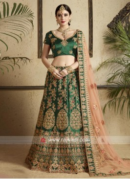 Heavy Work Wedding Lehenga in Dark Green