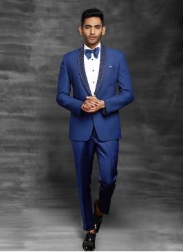 Herringbone Navy Blue Suit