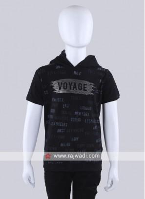 Hoodie Style Black T-Shirt