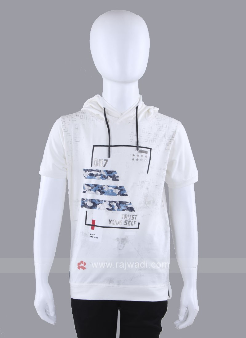 Hoodie Style Off White T-Shirt