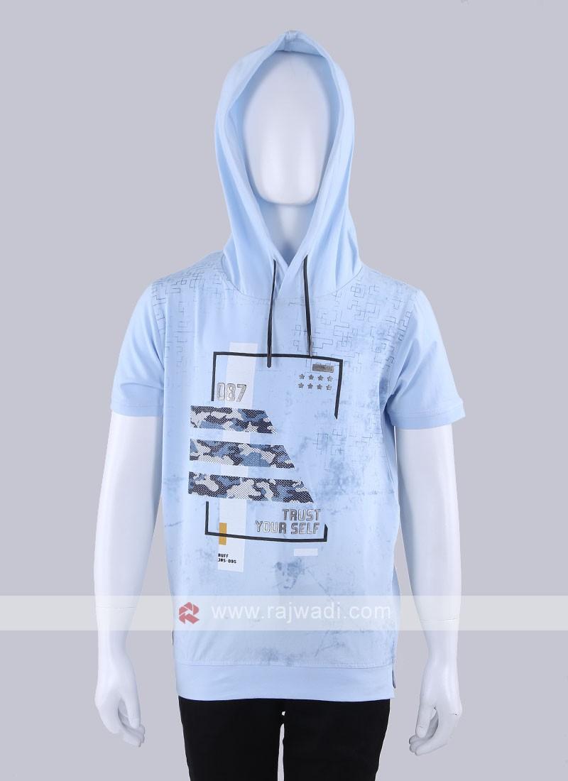 Hoodie Style Sky Blue T-Shirt