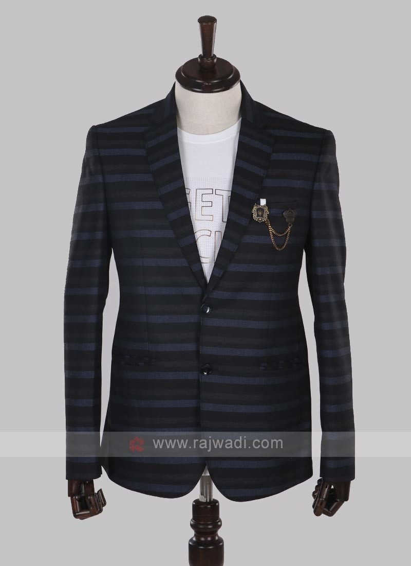 horizontal striped black blazer