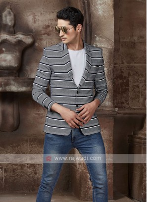 horizontal striped grey blazer