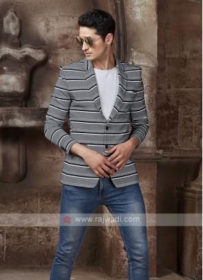 horizontal striped grey blazer