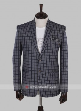Hosiery cotton grey checks blazer