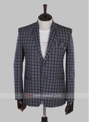 Hosiery cotton grey checks blazer