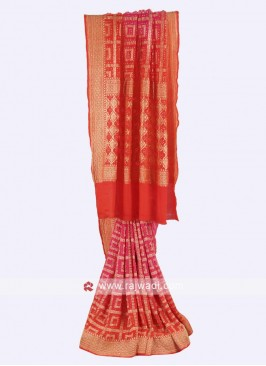 Hot pink and orange color chiffon saree